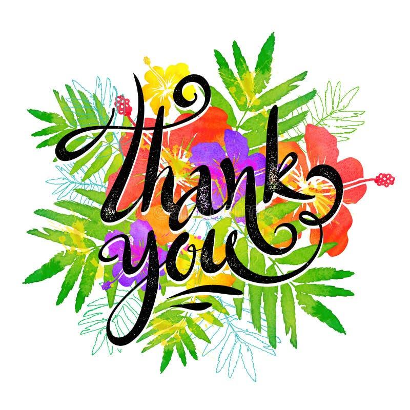 Gracias muestra caligráfica de la tinta del grunge del vector en el fondo tropical de las hojas y de las flores del estilo de la  ilustración del vector