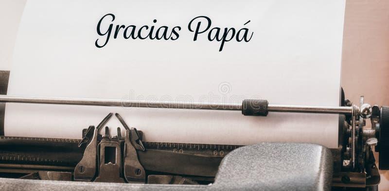 Gracias-Papa geschrieben auf Papier lizenzfreies stockfoto
