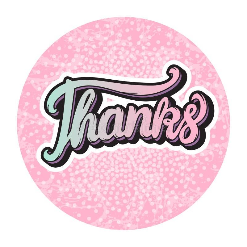 Gracias que ponen letras a la inscripción alrededor de la forma rosada linda con textura Vector aislado en el fondo blanco ilustración del vector