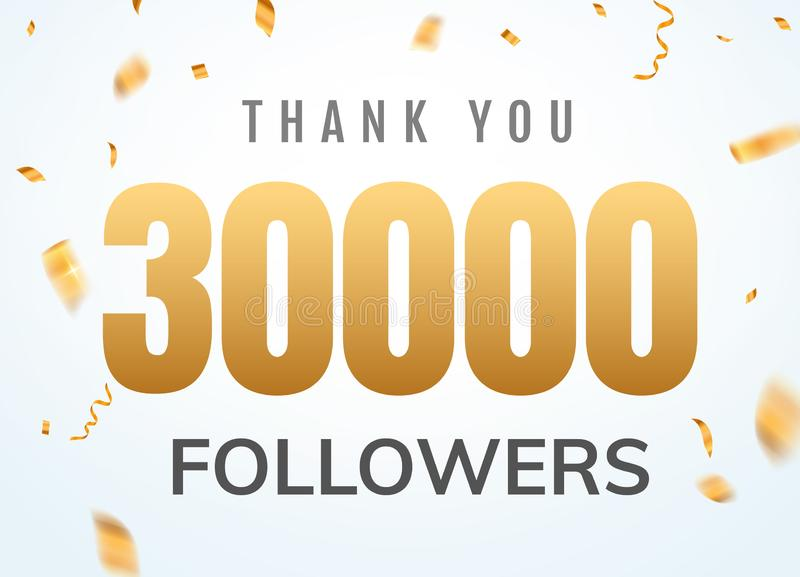 Gracias que 30000 seguidores diseñan aniversario social del network number de la plantilla Amigos de oro mil del n?mero de los us stock de ilustración