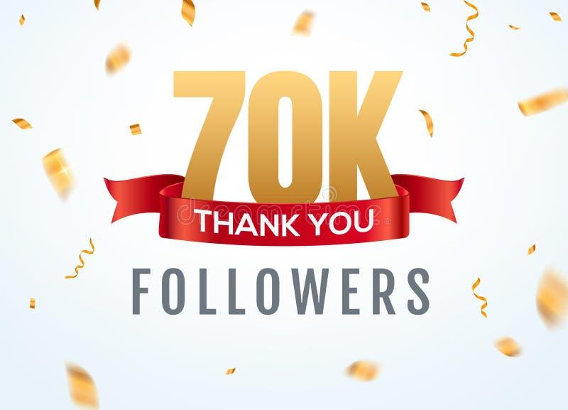 Gracias que 70000 seguidores diseñan aniversario social del network number de la plantilla Amigos de oro del número de los usuari stock de ilustración