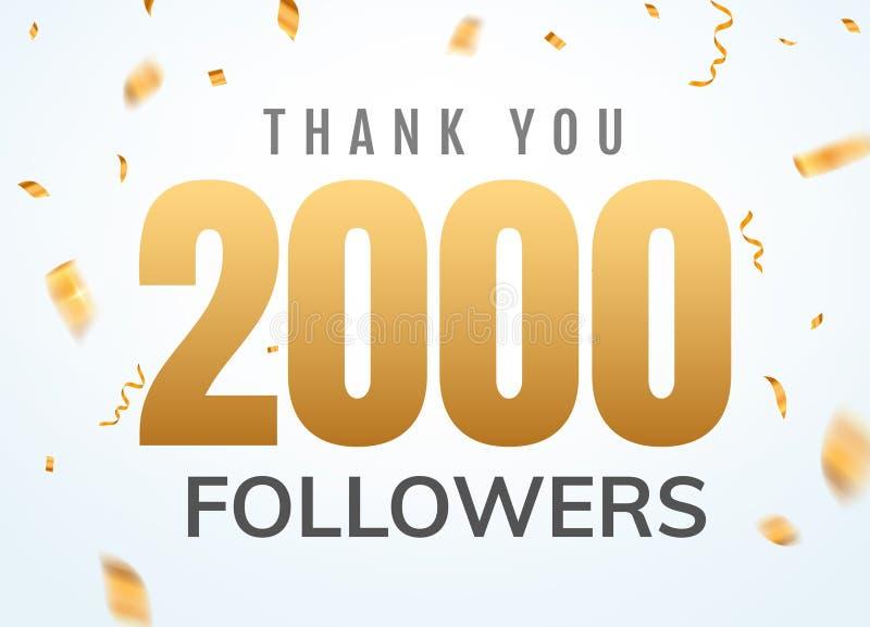 Gracias que 2000 seguidores diseñan aniversario social del network number de la plantilla Número de oro de los usuarios sociales libre illustration