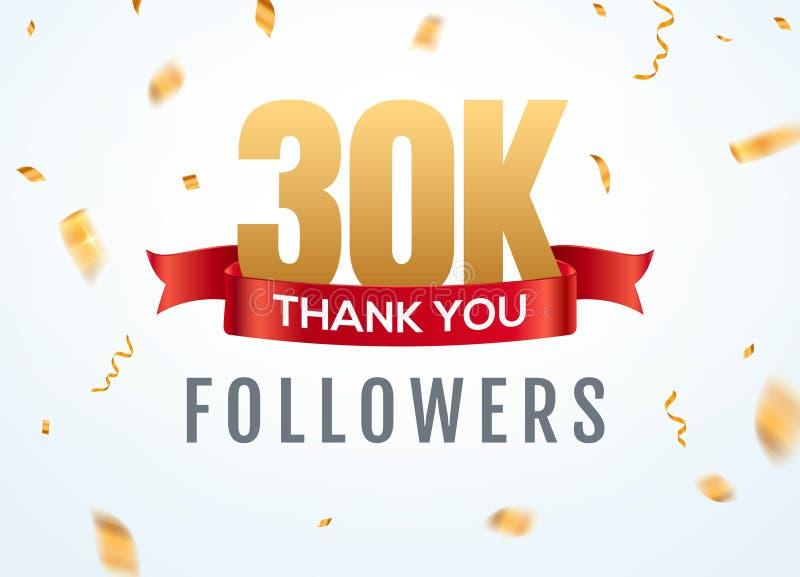 Gracias que 30000 seguidores dise?an aniversario social del network number de la plantilla Amigos de oro del número de los usuari ilustración del vector