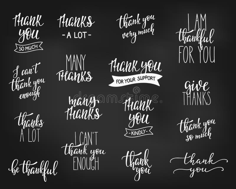 Gracias sistema positivo de las letras de la cita de la familia ilustración del vector