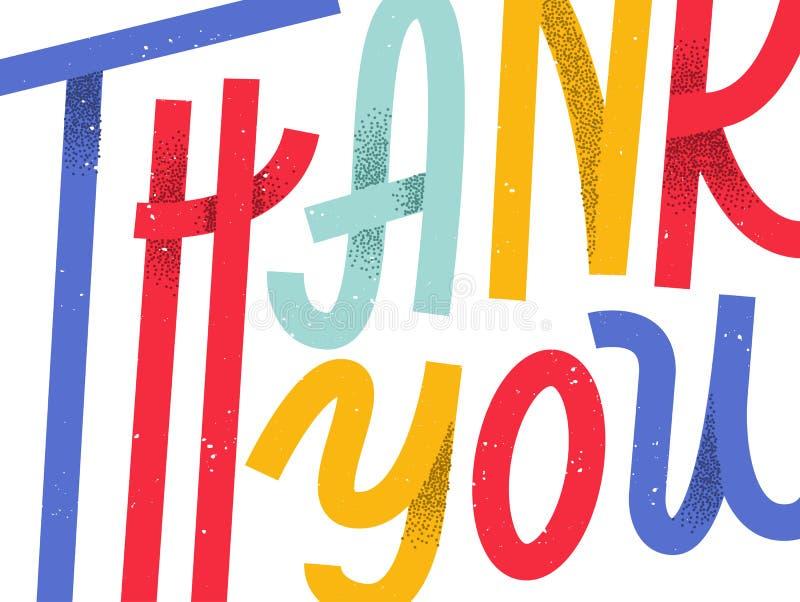 Gracias tarjeta de felicitación, las letras de encargo coloridas que se amplían libre illustration