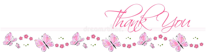 Gracias tarjeta de la mariposa stock de ilustración