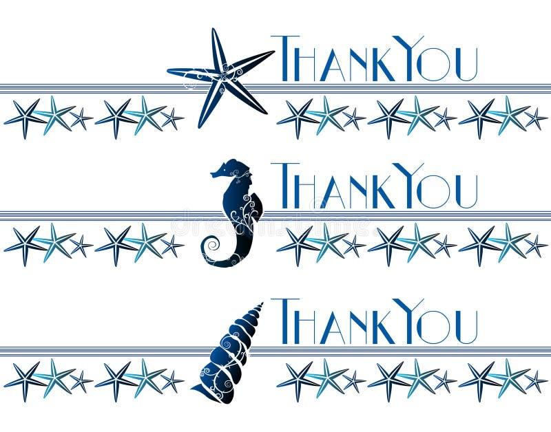 Gracias tarjeta del tema del mar ilustración del vector