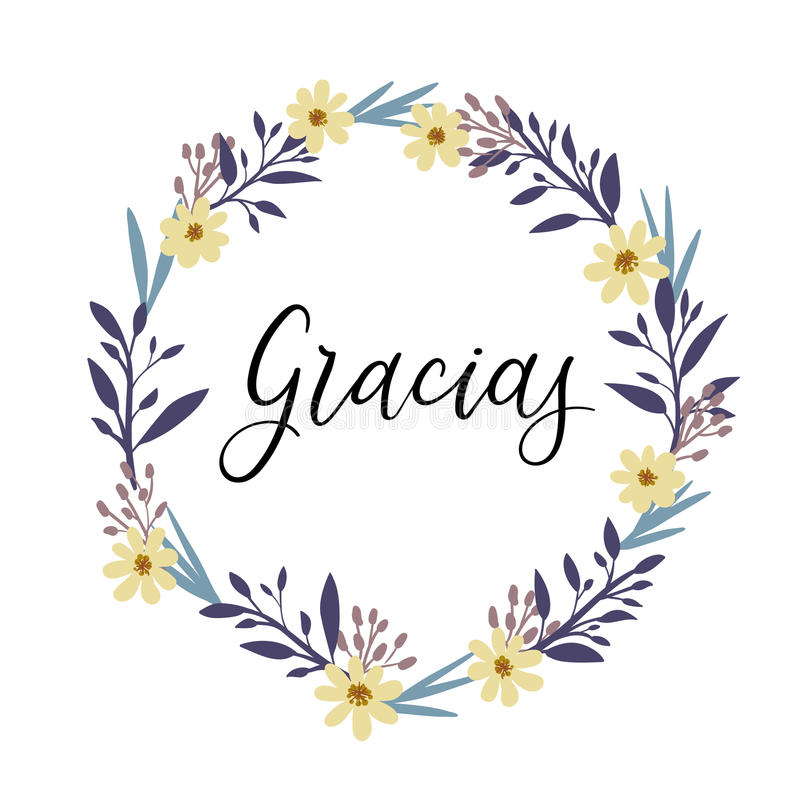 Gracias. Thank you in spanish calligraphy greeting card. Vector illustration stock illustration