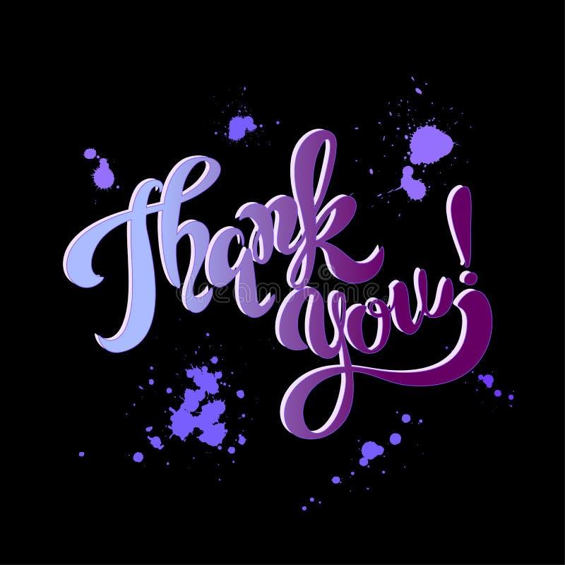 Gracias usted deletreado Arco iris blots Escritura inspirada postal Fondo negro Vector libre illustration