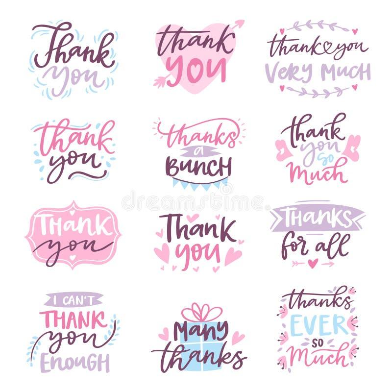 Gracias vector la muestra agradecida de las letras del saludo del diseño del ejemplo de la tipografía de la escritura de la letra ilustración del vector