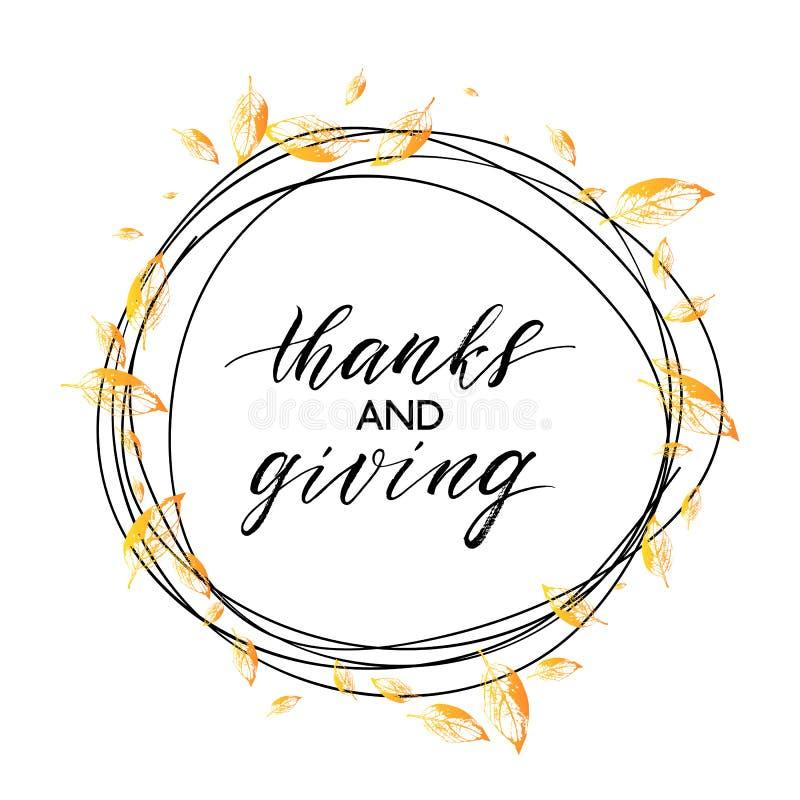 Gracias y texto del donante en guirnalda del autunm con las hojas anaranjadas stock de ilustración