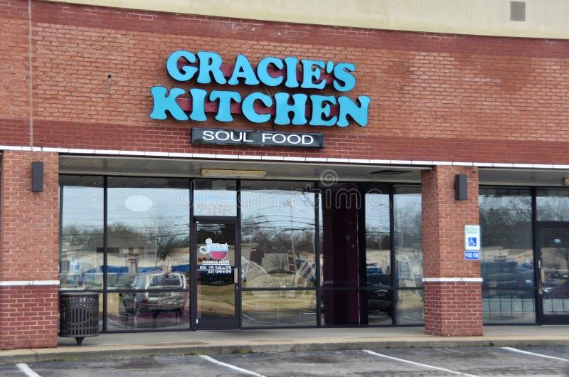 Gracie`s Kitchen Soul Food, Bartlett, TN. Gracie`s Kitchen Soul Food restaurant in Bartlett, TN serves baked chicken, catfish, turkey wings, turkey legs, cakes stock photo
