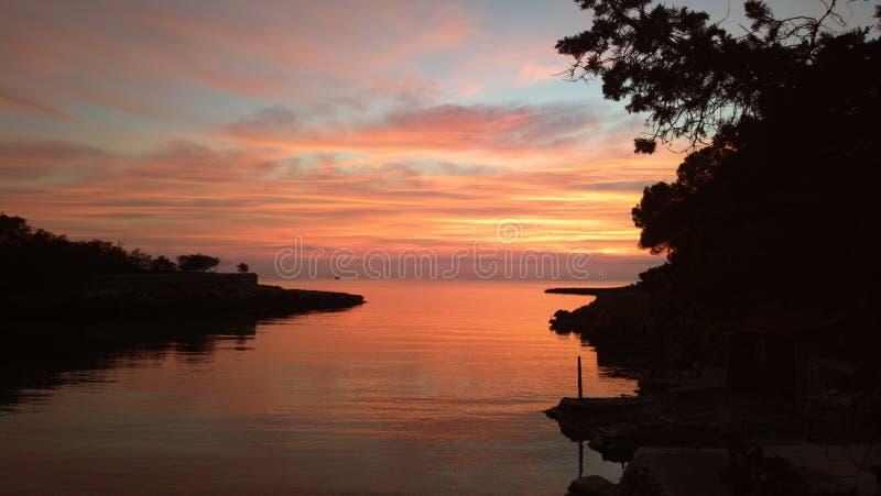 Gracio de cala do por do sol de Ibiza fotos de stock royalty free