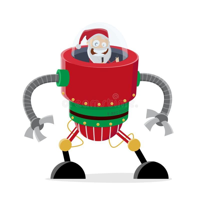 Graciosa ilustración de santa claus en un robot navideño ilustración del vector
