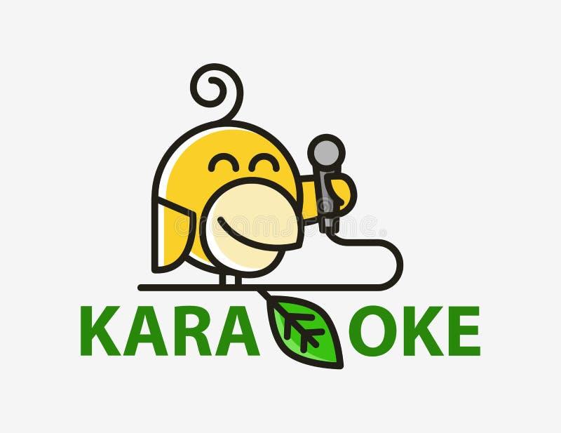 Gracioso y creativo logotipo de karaoke abstracto de pájaro amarillo. Canario con micrófono. Diseño del logotipo vectorial del  stock de ilustración