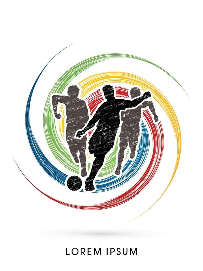 Graczów piłki nożnej biegać ilustracji