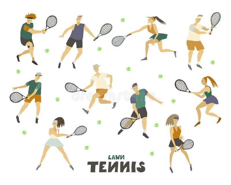 Graczów w tenisa mężczyzn chłopiec faceta kobieta ustawiająca dziewczyna z kanta i piłki Ludzką postacią w ruchu ilustracja wektor