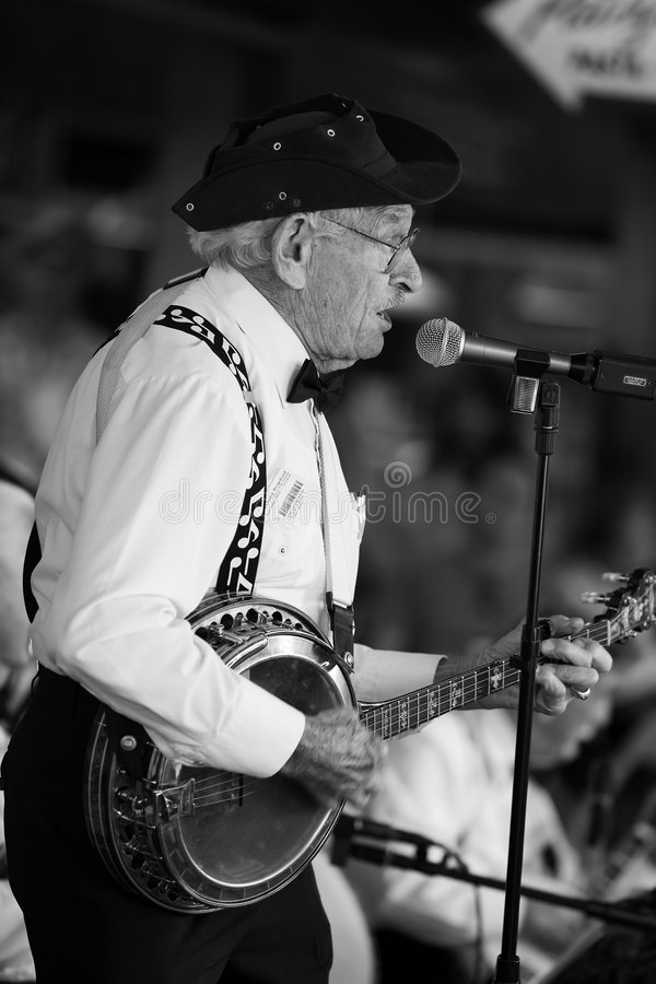 gracz banjo. zdjęcia stock