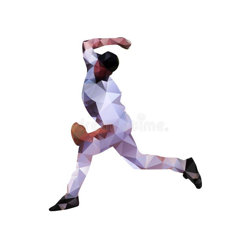 Gracz baseballa, abstrakcjonistyczna poligonalna sylwetka ilustracji