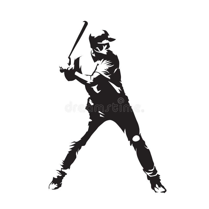 Gracz baseballa, abstrakcjonistyczna wektorowa sylwetka ilustracji