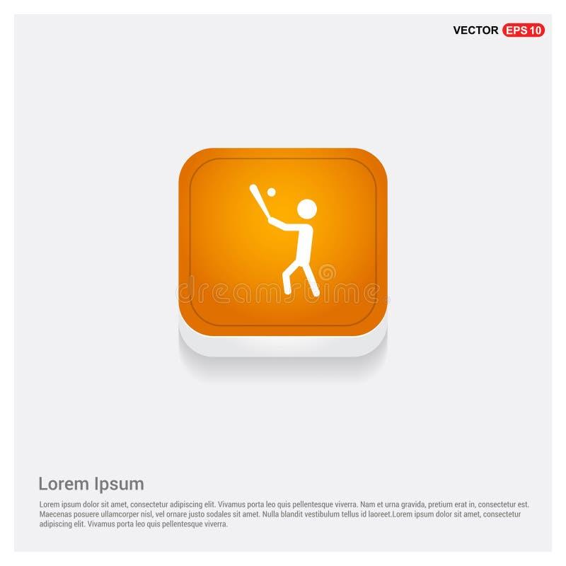 Gracz Baseballa ikony sieci Pomarańczowy Abstrakcjonistyczny guzik royalty ilustracja