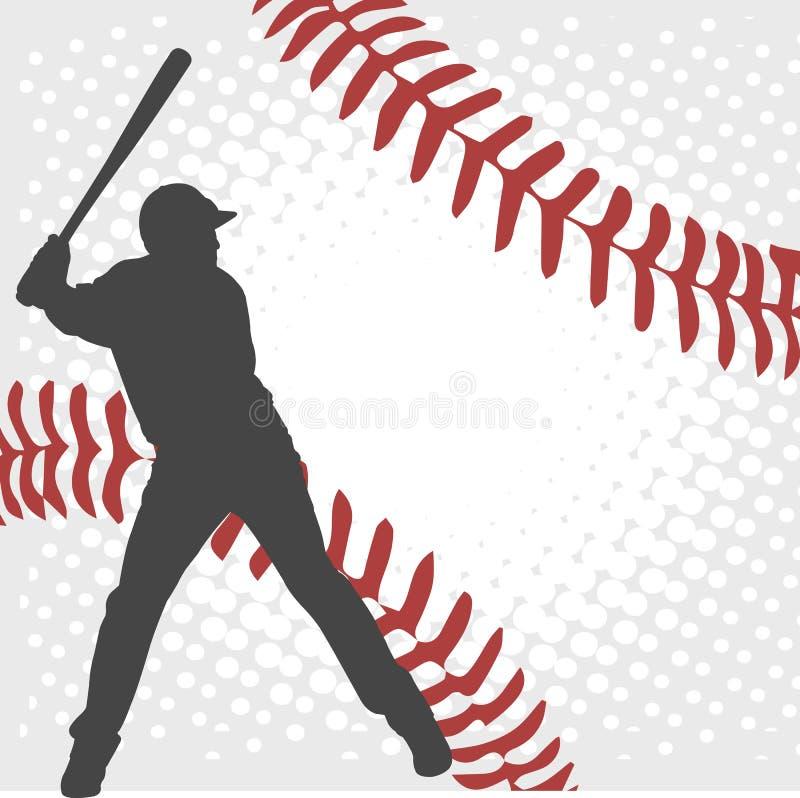 Gracz baseballa sylwetka na abstrakcjonistycznym tle ilustracja wektor
