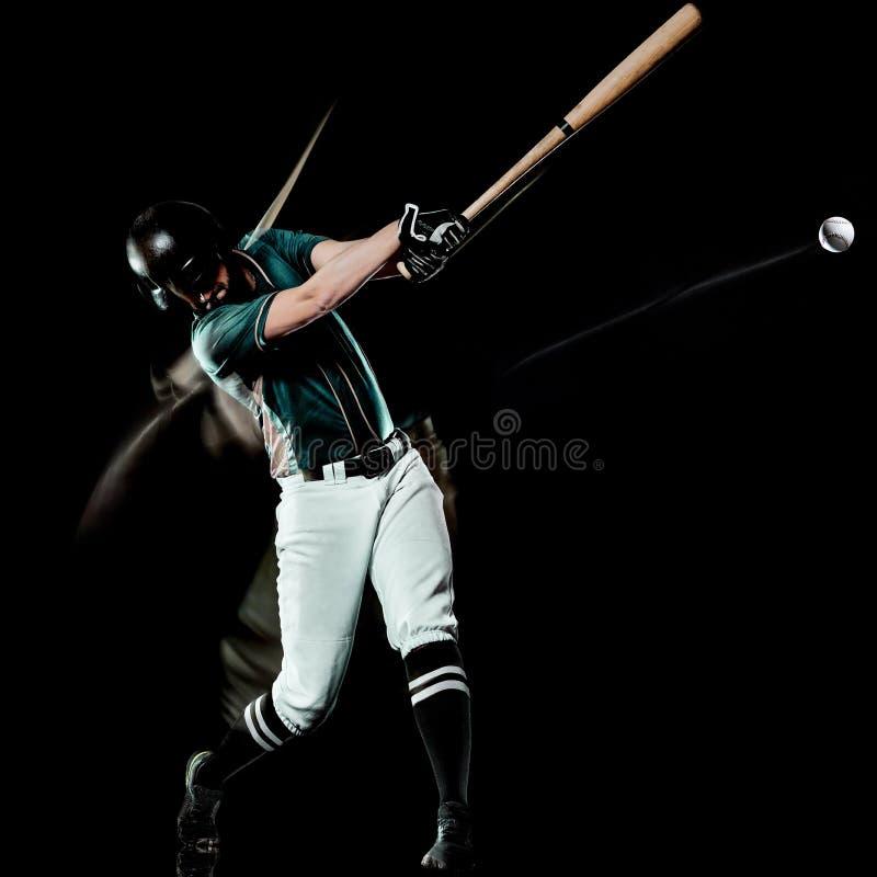 Gracz baseballa tła światła mężczyzna odizolowywający czarny obraz obraz stock