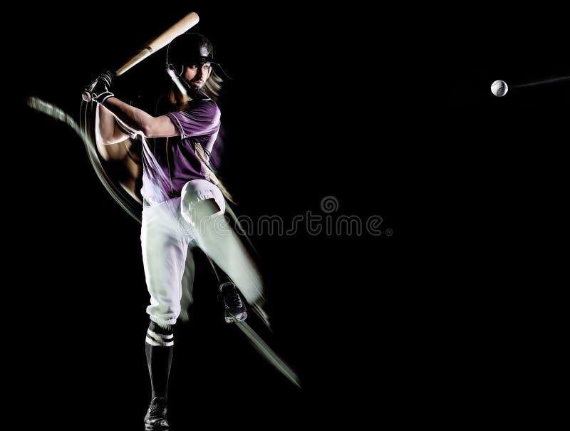 Gracz baseballa tła światła mężczyzna odizolowywający czarny obraz zdjęcia royalty free