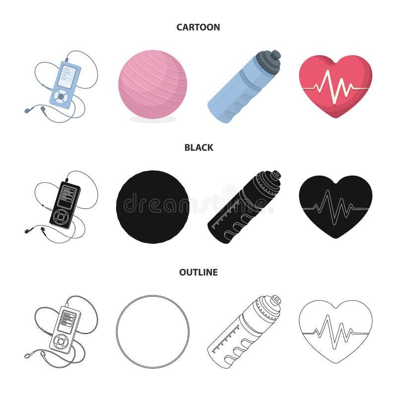 Gracz, butelka woda i inny wyposażenie dla trenować, Gym i trening ustalone inkasowe ikony w kreskówce, czerń, kontur ilustracji