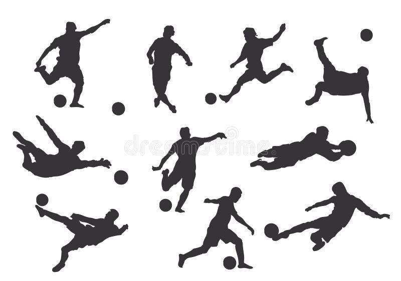 gracz futbolowe ilustracyjne sylwetki royalty ilustracja