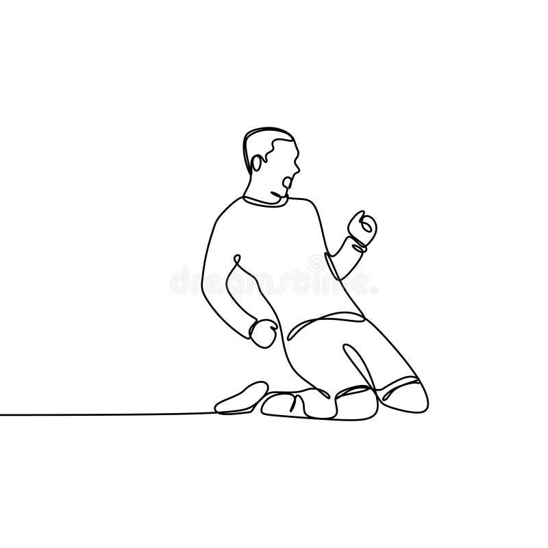Gracz futbolu świętowania kreskowego rysunku sporta ciągły temat ilustracja wektor