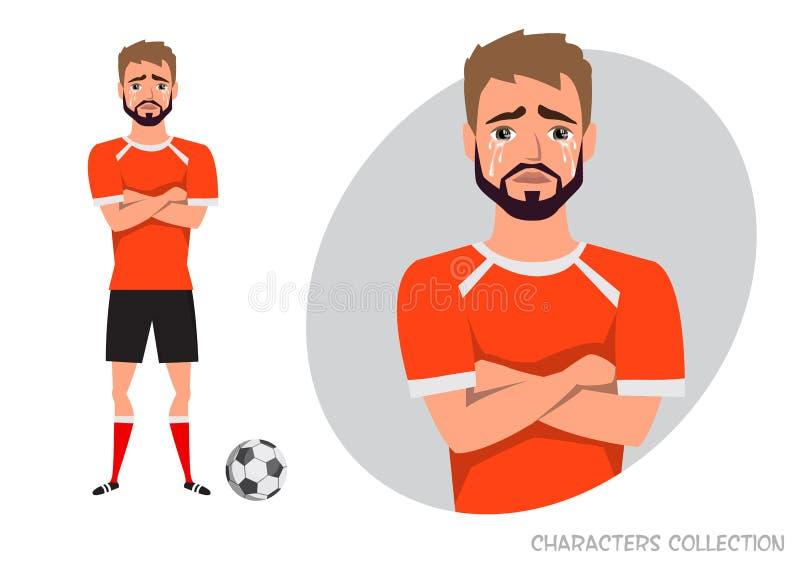 Gracz futbolu krzyżował jego płacze i ręki Obsługuje łzy i depresję Emocja rozczarowanie i smucenie przy ilustracji