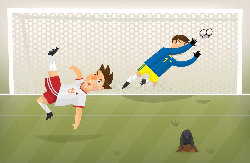 Gracz futbolu osiągania cel na zielonym boisku do piłki nożnej zdjęcie royalty free