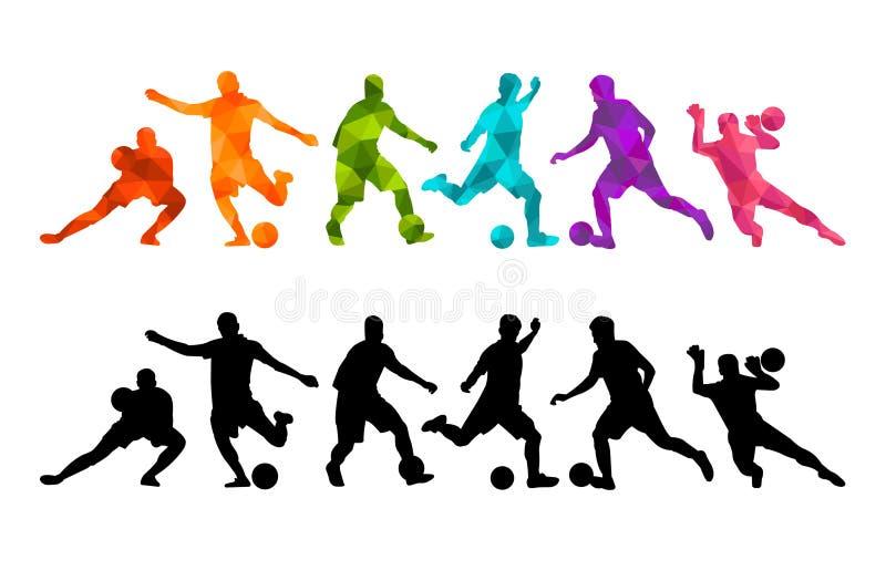 Gracz futbolu piłki nożnej piłki sylwetki kolorowy tło Wektorowy coloful ilustracyjny projekta sztandaru karty plakat royalty ilustracja