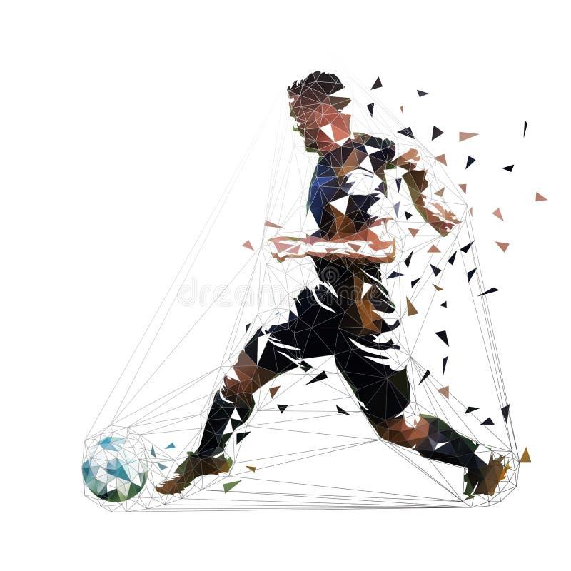 Gracz futbolu w czarnym dżersejowym bieg z piłką, abstrakcjonistyczny niski poli- wektorowy rysunek gracz na kopanie pi?ki no?nej ilustracji