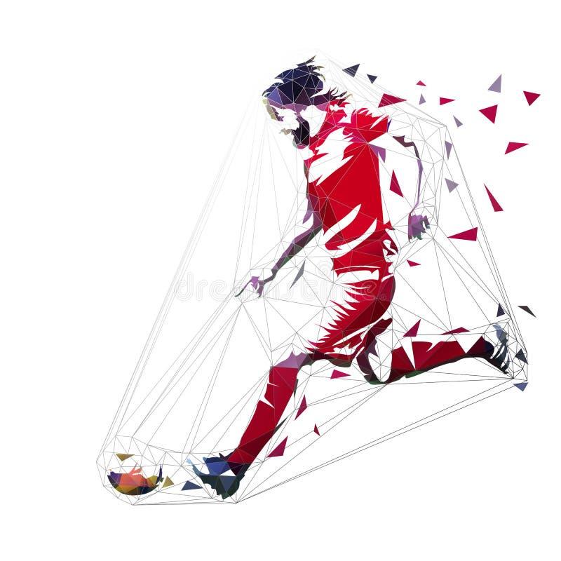 Gracz futbolu w czerwonym dżersejowym bieg z piłką, abstrakcjonistyczny niski poli- wektorowy rysunek gracz na kopanie pi?ki no?n ilustracji