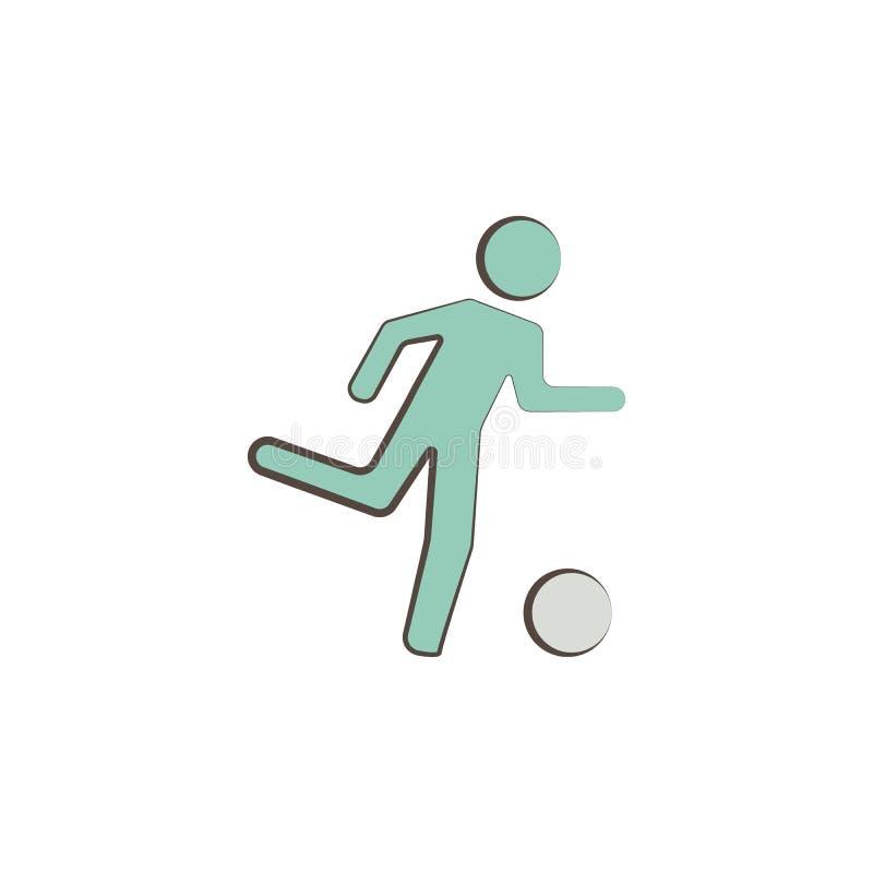 gracz futbolu wytłacza wzory ikonę Element zawody wytłacza wzory ikonę dla mobilnych pojęcia i sieci apps Nakreślenie gracz futbo ilustracja wektor