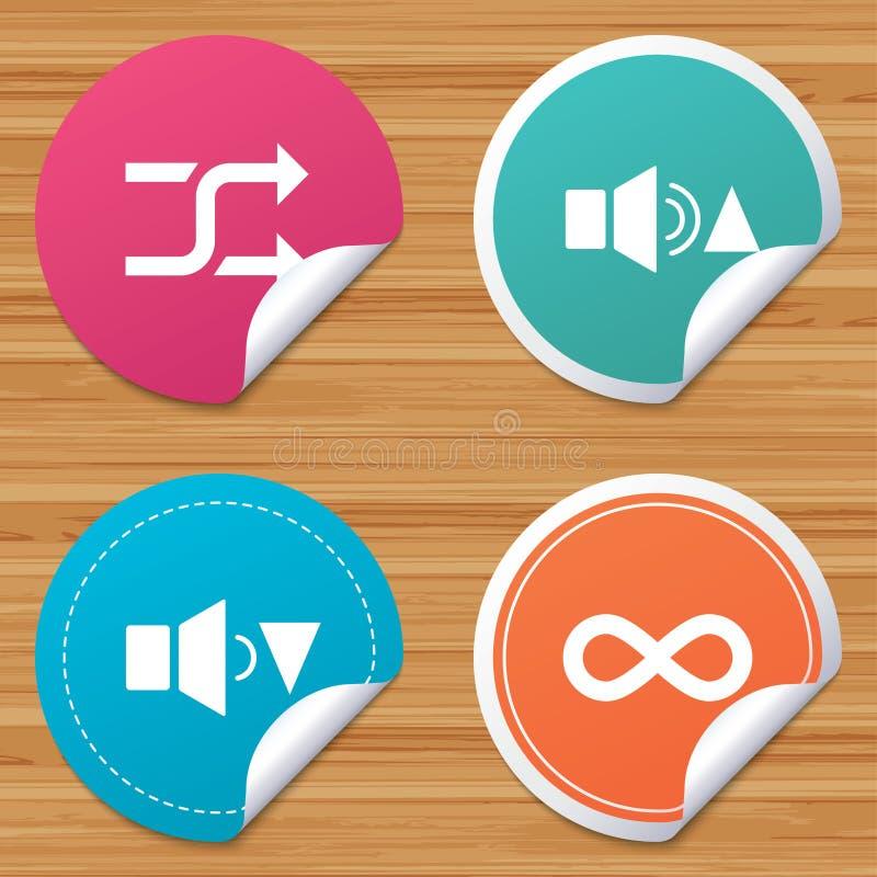 Gracz kontrolne ikony Rozsądny quieter i głośny royalty ilustracja