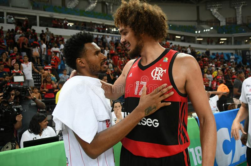 Gracz koszykówki Anderson Varejão e Leandrinho zdjęcia royalty free