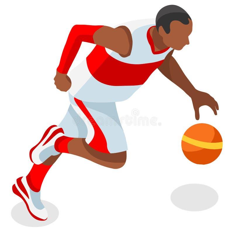 Gracz Koszykówki atlety lata gier ikony set 3D koszykówki olimpiad gracza Isometric Czarna atleta Stany Zjednoczone usa Bawić się ilustracja wektor