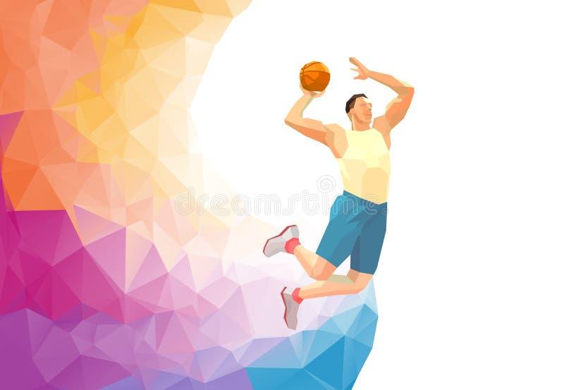 Gracz koszykówki na kolorowym niskim poli- plecy z pustą przestrzenią ilustracji