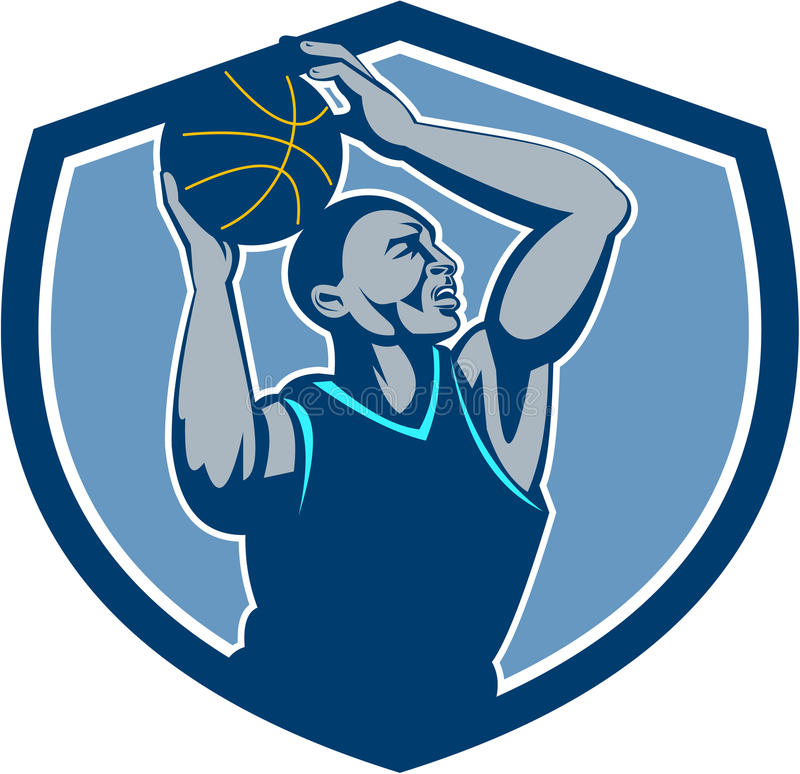 Gracz Koszykówki Odbija się Balowego grzebień Retro ilustracji