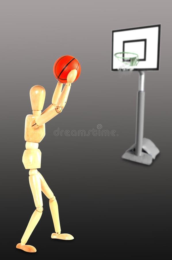 Gracz koszykówki rzuca piłkę ilustracji