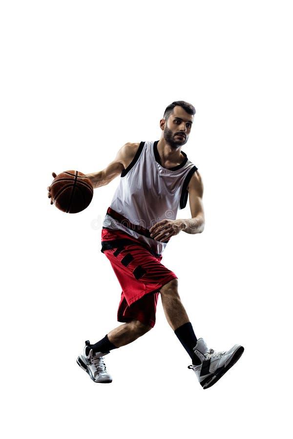Gracz koszykówki w akci odizolowywającej na bielu obraz royalty free