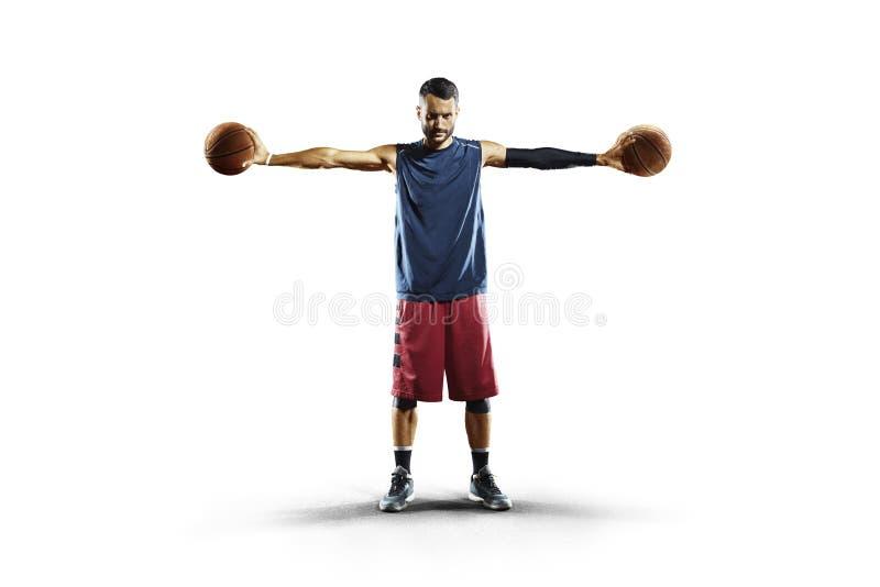 Gracz koszykówki w akci odizolowywającej na bielu obrazy royalty free