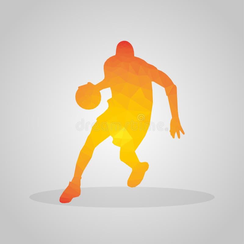 Gracz koszykówki w poligonalnym stylu na szarym tle royalty ilustracja