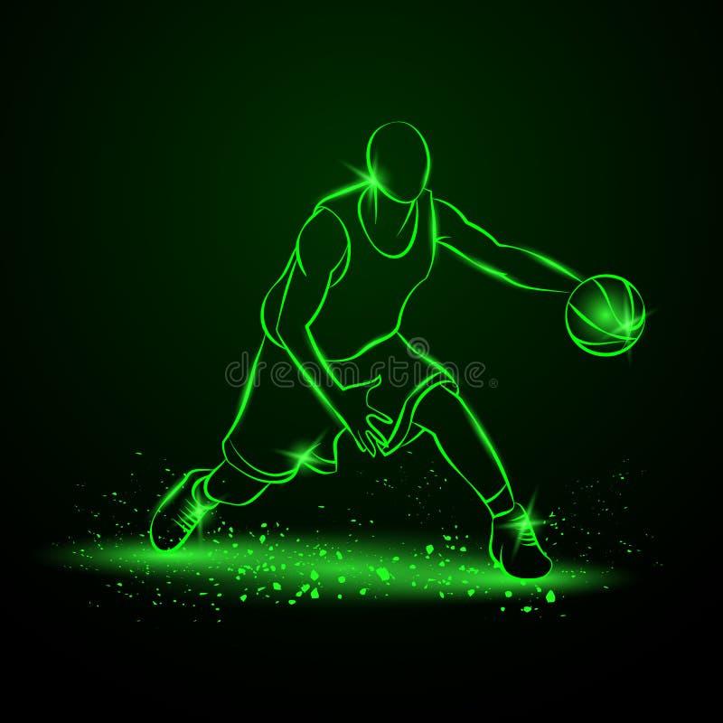 Gracz koszykówki z piłką tła czarny ikon neon umieszczał styl sześć royalty ilustracja