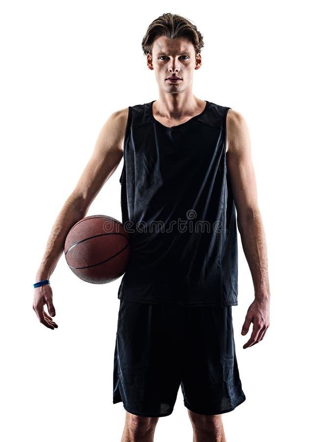 Gracz koszyk?wki sylwetki m??czyzna odizolowywaj?cy cie? zdjęcie stock