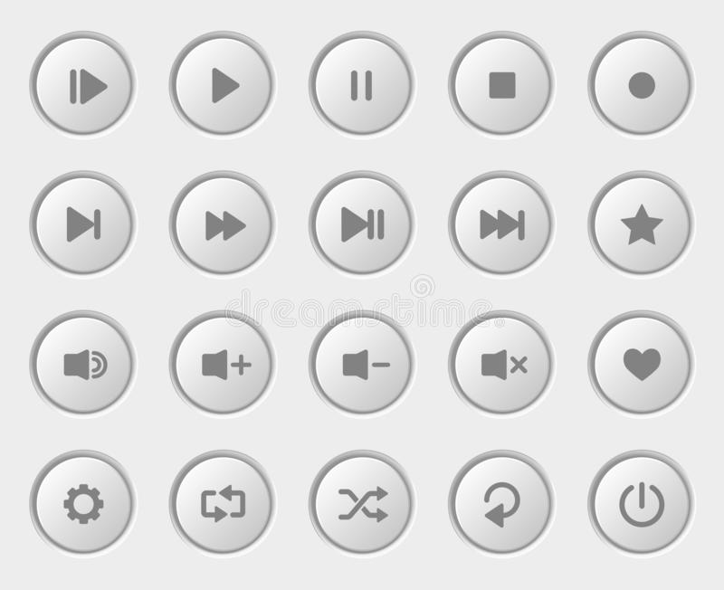 Gracz nawigaci guziki ustawiający Biały Plastikowy pulpit operatora ilustracji