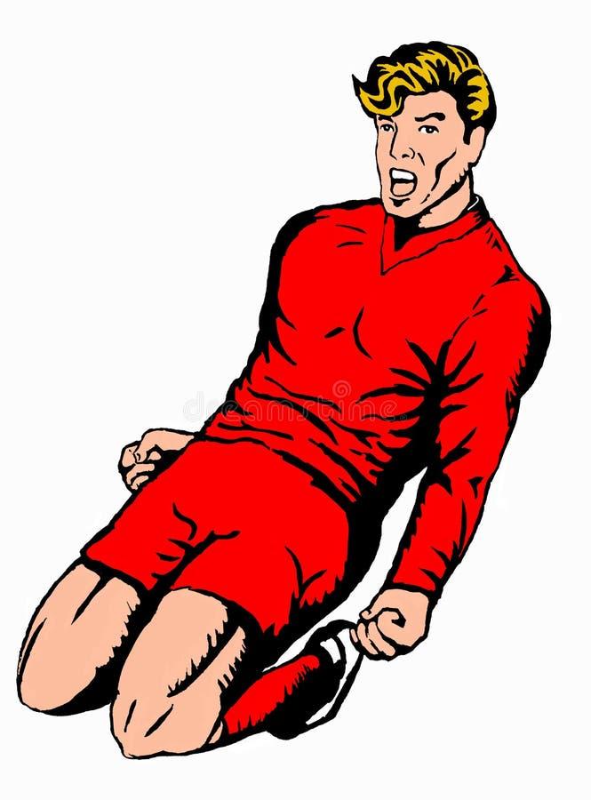 gracz oblewania czerwono piłki nożnej royalty ilustracja
